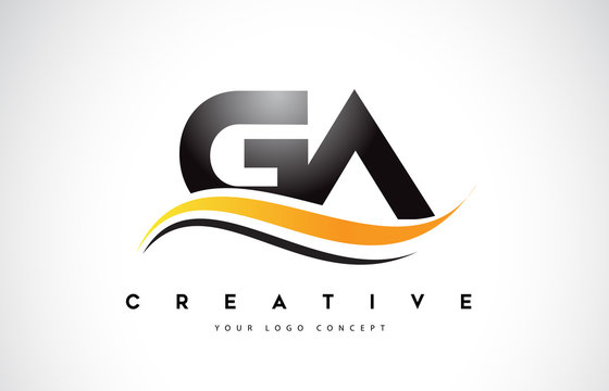 GA G A Swoosh Letter Logo Design with Modern Yellow Swoosh Curved Lines.