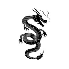 Vector Dragon, Oriental Ornament, Back and White Illustration, Tattoo Style Sketch Isolated.