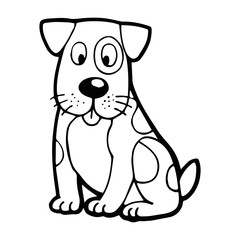 Dog cartoon illustration isolated on white background for children color book