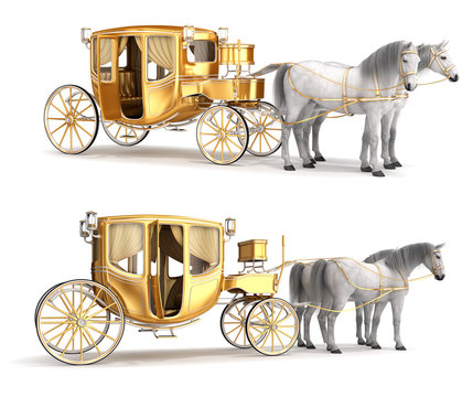 Golden coach with an open door, harnessed with a pair of white horses. Set of 3d illustrations