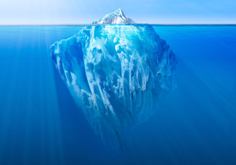 Iceberg in the ocean with visible underwater part. 3D illustration