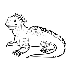 Lizard cartoon illustration isolated on white background for children color book