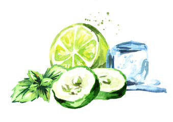 Ice cube, cucumber and green lime with mint composition isolated on white background. Watercolor hand drawn illustration.tif