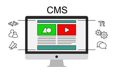 Content management system concept flat vector illustration