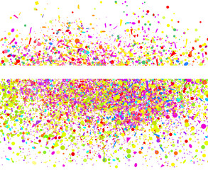 Multicolored glitters on white. Geometrical background with confetti. Pattern for design. Print for polygraphy, posters, banners and textiles. Greeting cards
