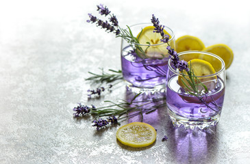 Keuken foto achterwand Lavendel Fresh drink lemon lavender flowers summer lemonade