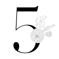 Vintage decorative numeral on the white background.