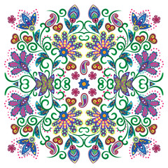 Lovely tablecloth ethnic indian flowers. Beautiful vector ornament. Card, bandana print, kerchief design, napkin. Pastel pink blue beige ornate pattern on white. Ready for print.