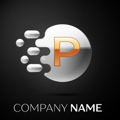 Gold Letter P logo. Silver dots splash and abstract liquid bubble shape on black background. Vector template for your design