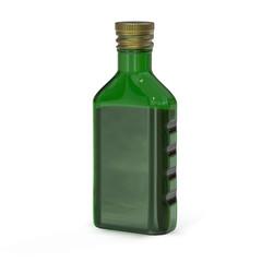 Bottle of green glass. Bottle of unusual shape. 3D rendering.