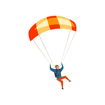 Skydiver flying with a parachute, parachuting sport and leisure activity concept vector Illustration on a white background