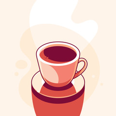 Vector illustration in trendy flat linear minimal style  - coffee cup
