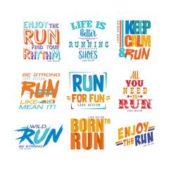 Inspirational and motivational slogans set, design element for running poster, card, decoration banner, print, badge, sticker vector Illustrations