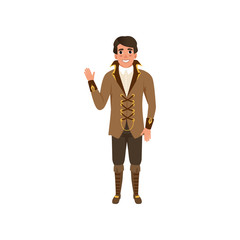 Steampunk guy waving hand. Man in jacket with lacing and high collar, shirt, pants and boots. Costume for festival. Flat vector design