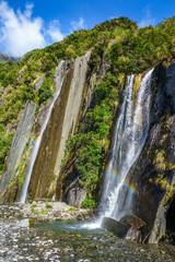 Franz Josef glacier waterfalls, New Zealand