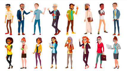 Multinational People Set Vector. Crowd Of People. Men, Women. Business Human. Different Countries. Isolated Illustration