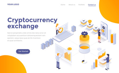 Flat color Modern Isometric Concept Illustration - Cryptocurrency exchange