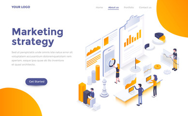 Flat color Modern Isometric Concept Illustration - Marketing strategy Fotoväggar