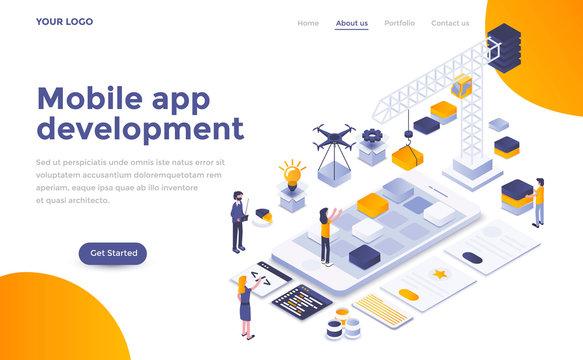 Flat color Modern Isometric Concept Illustration - Mobile app development