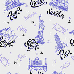 Seamless pattern. Countries and cities. Lettering. Sketches. Landmarks. Travel. Italy, Rome, America, Sweden, India, Egypt. Vector.