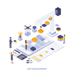 Flat color Modern Isometric Illustration design - App development