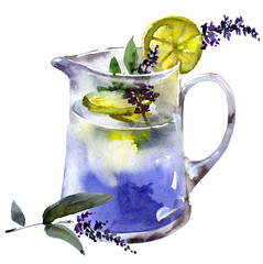 Lemonade with lemon and lavander