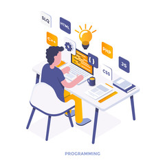 Flat color Modern Isometric Illustration - Programming