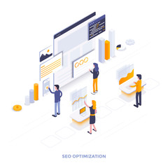 Flat color Modern Isometric Illustration design - Seo optimization