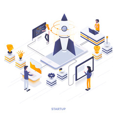 Flat color Modern Isometric Illustration design - Startup