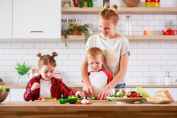 Picture of young mother with daughter and son cooking at table
