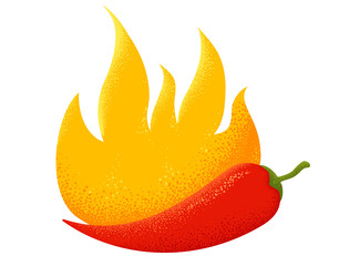 chili pepper in fire.
