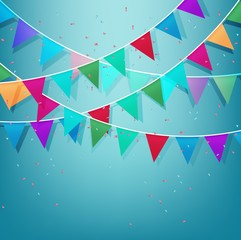 Festive background with Colorful Party Flags with Confetti on blue sky background