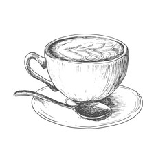 Sketch ink hatching cup of cappuccino coffee illustration, draft silhouette drawing, black on white background. Delicious vintage etching food design.