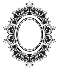 Baroque mirror frame line art. Vector French Luxury rich intricate ornaments. Victorian Royal Style decors