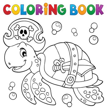 Coloring book pirate turtle theme 1