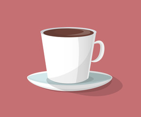 Cup of Coffee with Plate Vector Illustration