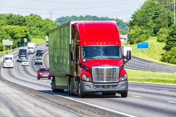 Red Semi Truck on Interstate Highway