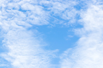 Blue color sky with white cloud background