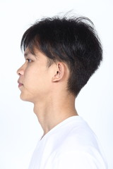 Asian man before applying make up hair style. no retouch, fresh face