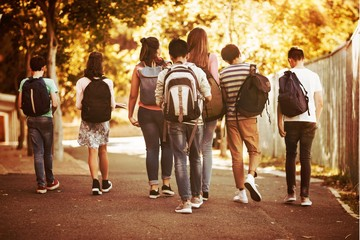 Rear view of school kids walking on road in campus