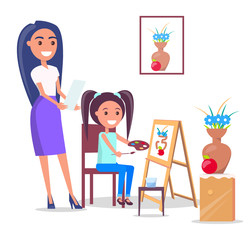Teacher and Pupil in Arts Class in Flat Design