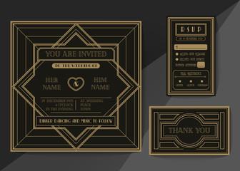 Retro and vintage wedding invitation vector template set