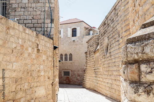 Silent streets in the old city of Jerusalem, Israel  Hativat Etsyoni