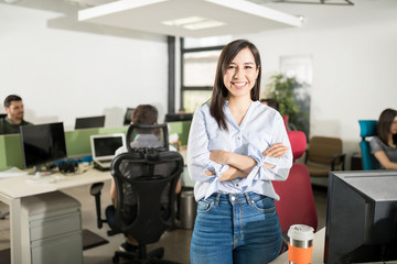 Beautiful business woman in startup office