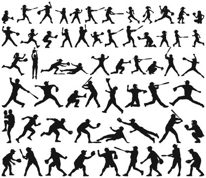 Vector silhouette collection of child man woman young and elderly playing baseball  softball