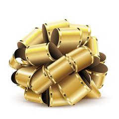 Golden bow on white background for birthday, valentine day, christmas. Vector illustration.