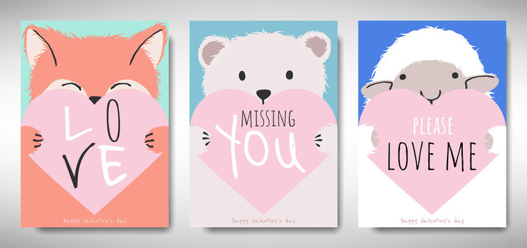 Set of Valentines day card template design, fox, bear and sheep holding heart with love message, simple pastel  theme