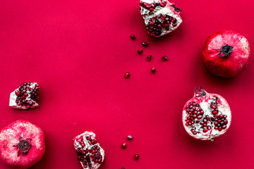 red set with pomegranate for restaurant menu top view mockup