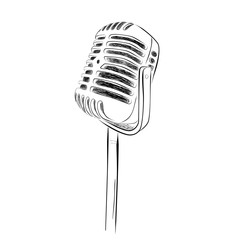 hand draw sketch of classic microphone