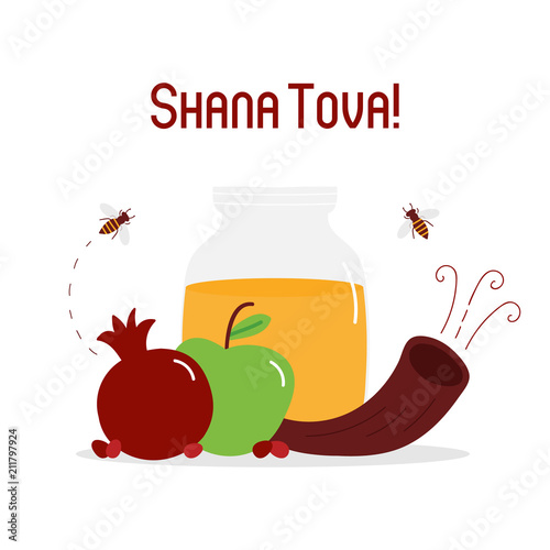 Shana tova vector greeting card with honey jar pomegranate apple shana tova vector greeting card with honey jar pomegranate apple and traditional musical m4hsunfo